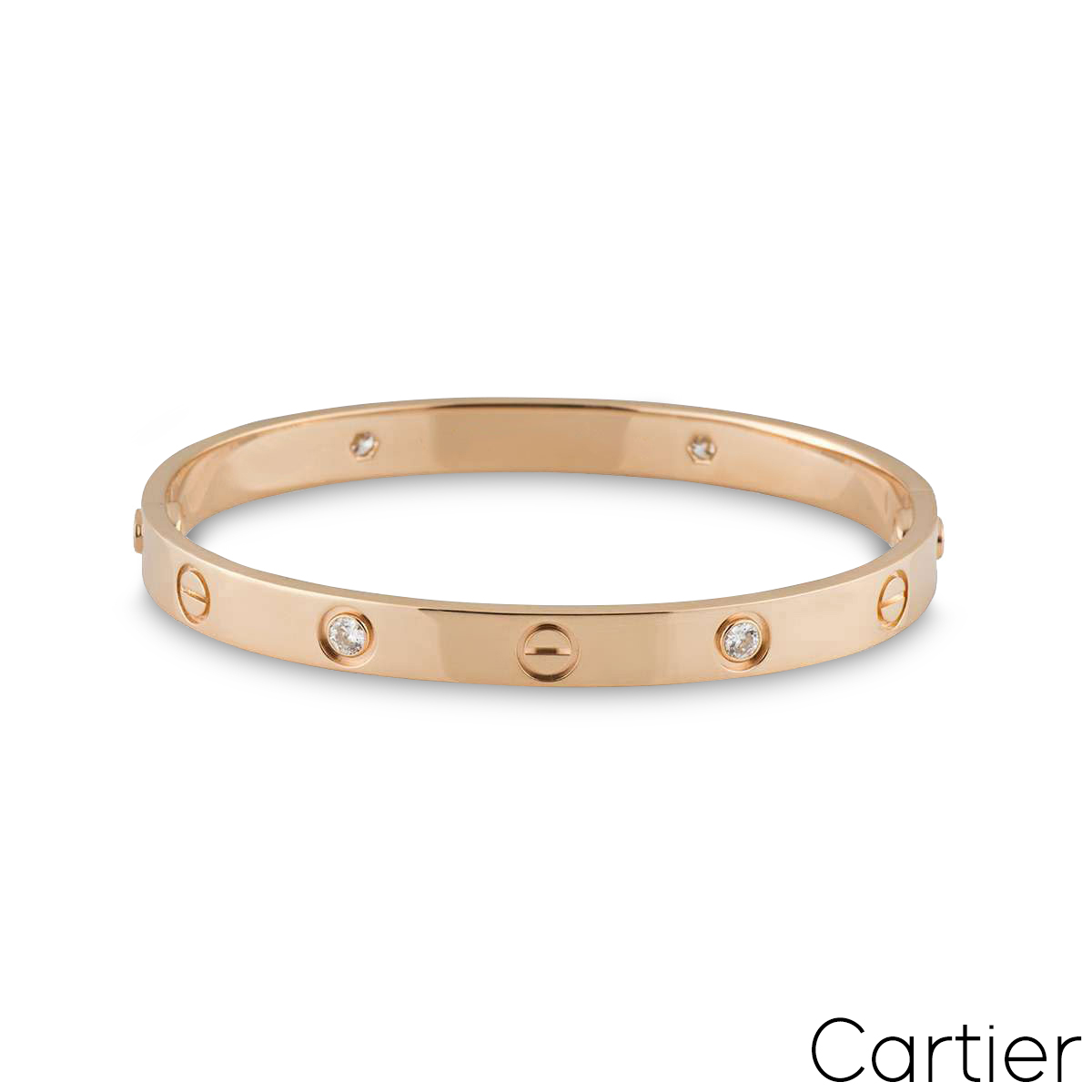 Cartier Rose Gold Half Diamond Love Bracelet Size 19 B6036019
